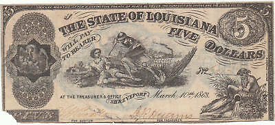1863 SHREVEPORT $5.00 THE STATE OF LOUISIANA Bank Note