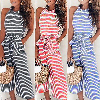 Women's Sleeveless Striped Jumpsuit Casual Party Clubwear Wide Leg Pants Outfit