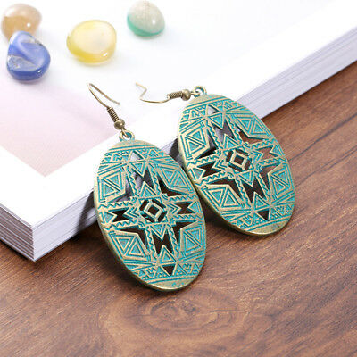 Women Antique Vintage Oval Bohemia Indian Carved mask Ethnic Hollow Hole Earring