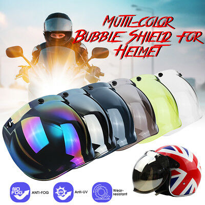 3-Snap Bubble Wind Shield Lens Visor Windshield Face Mask For Motorcycle Helmets