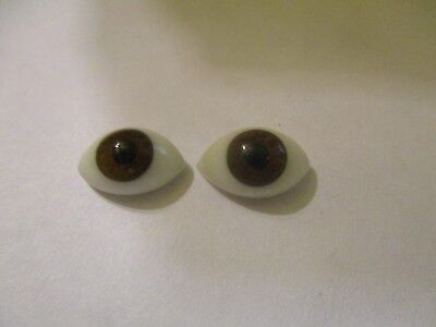 1 Pair Vintage 20.5mm Brown German Hand Blown pinch Back Oval Glass Doll eyes