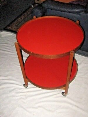 A Retro Wooden Foldable Two Shelf Mobile Round Disc Drinks Trolley Hostess Table