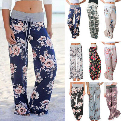 Ladies Floral Print Palazzo Trousers Womens Summer Wide Leg Pants Baggy Trousers
