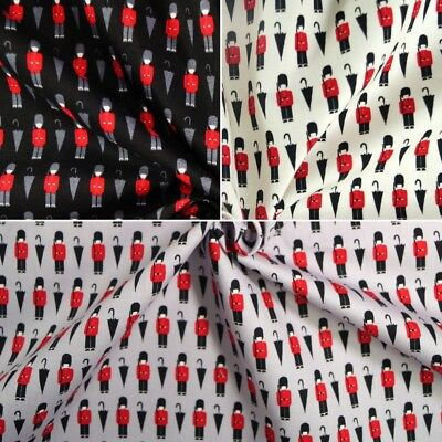 100% Cotton Poplin Fabric John Louden Queen's Guard Umbrella London British