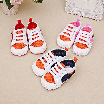 Newborn Toddler Baby Shoes Mesh Lace-up Sneakers Boys Girls Soft Sole Crib Shoes