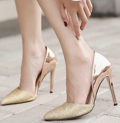 Sexy Womens shiny pointed toe high heel sequins patent leather stilettos shoes#