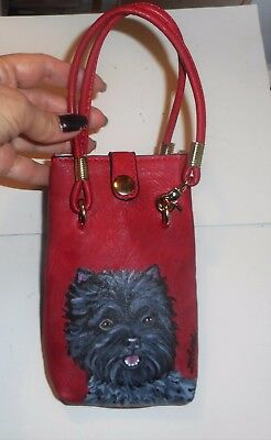 Brindle Cairn Terrier dog Hand Painted  Leather Cellphone Case Wristlet