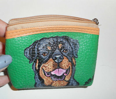 Rottweiler dog Hand Painted Leather Coin Purse