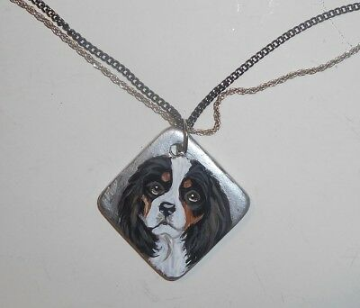 Cavalier King Charles Spaniel dog Necklace Hand Painted Ceramic Pendant