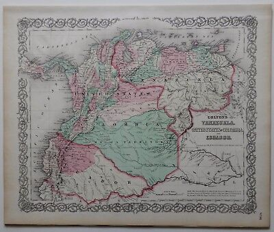 Vintage Colton Map - Venezuela - Columbia - Ecuador - Panama - Hand Colored 1870