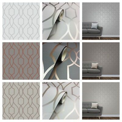 Fine Decor Apex Geometric Trellis Metallic Feature Wall Wallpaper - 3 x Colours