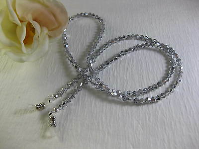 "EXTRA LONG 32"" SPECTACULAR SILVER Swarovski Crystal Beaded Eyeglass Chain~Holder"