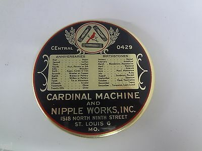Vintage Advertising  Mirror Paper Weight Cardinal Machine Co.   S-1871