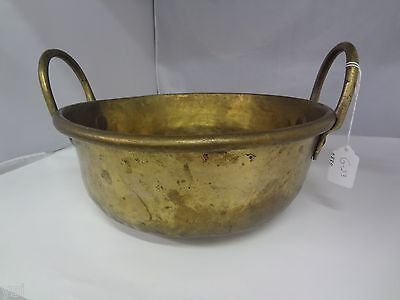 """Old Heavy Brass Bowl With Handles 12"""" Diameter Vintage Collectible  G-23"""