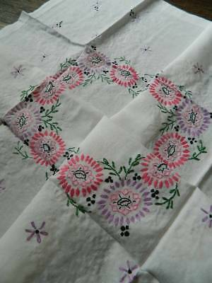 "Vintage hand embroidered tablecloth - Pink Florals.  40"" sq"