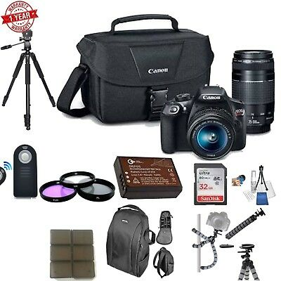 Canon EOS Rebel T6 With 18-55&75-300mm Lens w/ 32GB Starter Bundle
