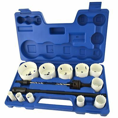 17pc Bimetal Hole Saw Cutter Circle Drill Pilot Drill Arbor 16 - 76mm & Extens