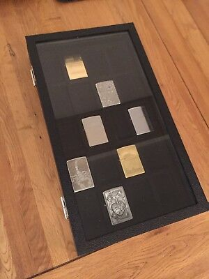 Lighter display case with glass lid for Zippo lighters holds 20