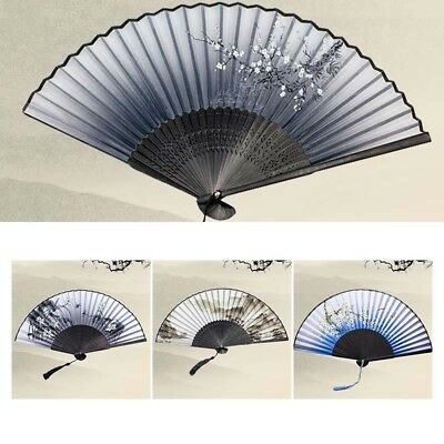 Bamboo Silk Folding Fan Hand Held Flower Party Chinese Style Decor Wedding Gift