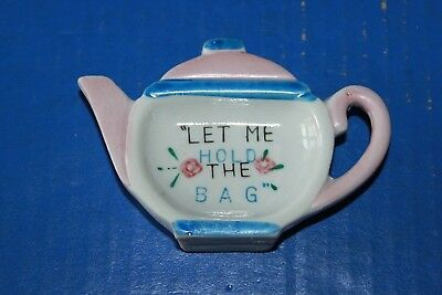 Vintage Ceramic Teapot Tea Bag Holder