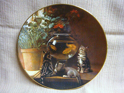 "1982 CAT PLATE ""Curiosity"" Ltd Ed 987/ 7500 KITTENS & GOLDFISH John Henry Dolph"