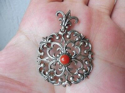 Beautiful, Ancient Pendants__835 Silver __ with Coral __ 5,0 13/16in