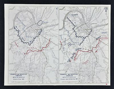 West Point Civil War Map - Battle of Nashville - Smith Wood  & Stewart Lee Hood