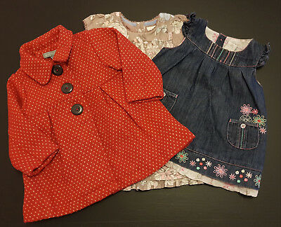 BABY GIRL'S PUMPKIN PATCH WINTER COAT & 2 x DRESSES - SIZE 0, 6 - 12 MONTHS