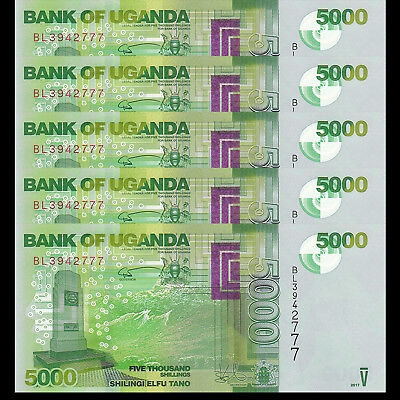 Lot 5 PCS,Uganda 5000 (5,000) Shillings, 2017(2018), P-51 New , UNC