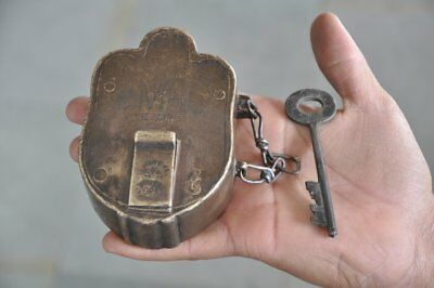 1930's Old Brass Solid Heavy Handcrafted BIMAL Brand Padlock , Rich Patina