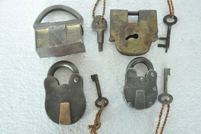 4 Pc Old Iron Different Shape Handcrafted Solid Padlocks , Rich Patina