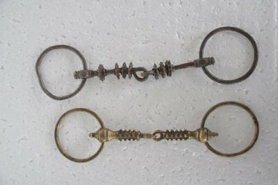 2 Pc Old Iron & Brass Handcrafted Spikes Crafted Horse Bridle / Bit, Nice Patina