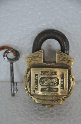 1930's Old Brass Solid Heavy Tiger Mark Unique Handcrafted Padlock , Rich Patina