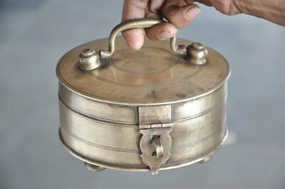 1930's Old Brass Handcrafted Round 6 Compartment Fine Quality Betel Nut Box