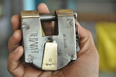 1940's Old Iron & Brass Solid Heavy BIMAL Brand Handcrafted Padlock, Rich Patina
