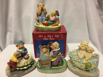 Jolly Piglet mini figurines 6cm hand crafted & Painted - BNIB - Collectable