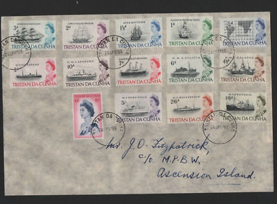 Tristan Da Cunha 1965 QEII Ships set to 10s very fine used. SG 71-84a on cover