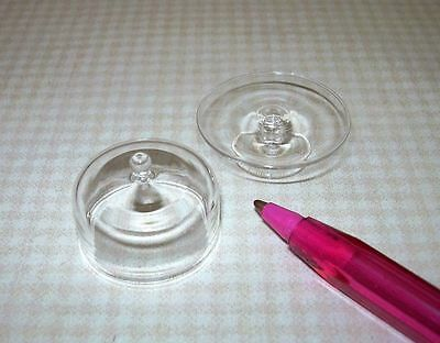 Miniature LARGE COVERED Clear Glass Pedestal Cake Plate Stand: DOLLHOUSE 1:12