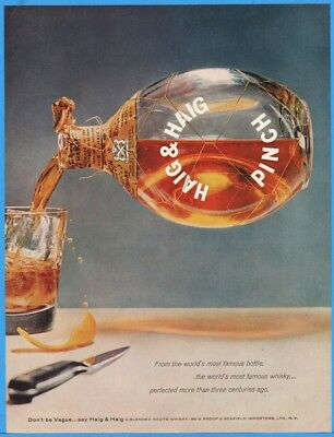 1956 Haig & Haig Mini Blended Scots Whiskey World's Most Famous Bottle Pinch Ad