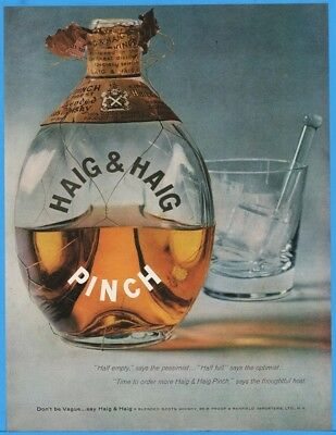 1956 Haig & Haig Mini Blended Scots Whiskey Pessimist Optimist Pinch Bottle Ad