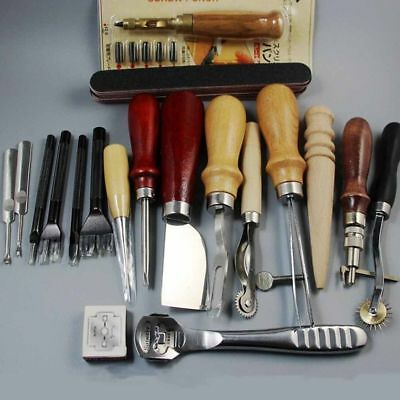 18/24Pcs Leather Craft Hand Tools Kit Sewing Stitching Thread Punch Carving Work