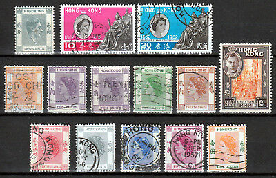 HONG KONG 1938/62 ☀ KGVI & QEII small collection of 14 stamps ( 2 MH & 12 used )