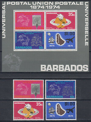 BARBADOS 1974 ☀ UPU 100th anniv. of Universal Postal Union ☀ Mi.381/384 + Block5