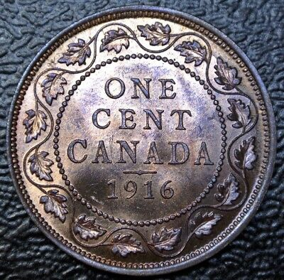OLD CANADIAN COIN 1916 - ONE CENT LARGE CENT -BRONZE- George V - Gorgeous LUSTRE