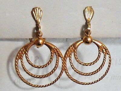 NOS Vintage 1950's triple hoop gold tone clip on earrings Rockabilly Mid Century