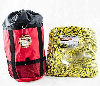 """Tree Climbing Rope,Yellow Jacket Pelican,24 Strand, 7/16""""X150' Rated6400Lb W/Bag"""