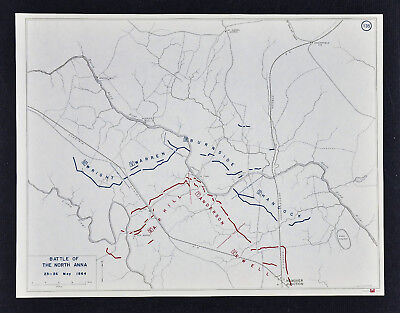 West Point Civil War Map Battle of North Anna - Anderson Ewell & Burnside Wright