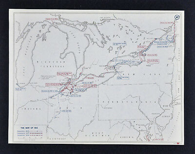 West Point Map War of 1812 - Battle of Lake Erie - Niagara Falls Detroit Perry