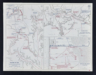 West Point Map War of 1812 - Washington & Baltimore - Battle of New Orleans