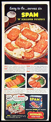 Vintage 1949 SPAM Canned Meat Magazine Ad Hormel Cold Or Hot Hits The Spot